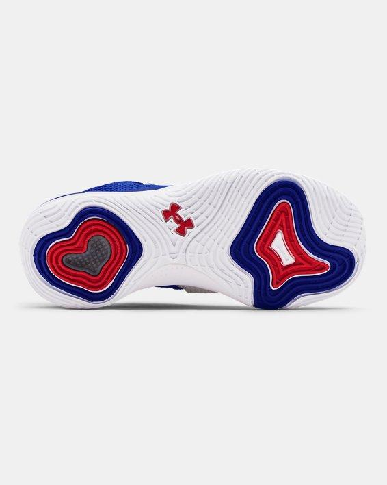 Grade School UA Embiid One Basketball Shoes, White, pdpMainDesktop image number 4