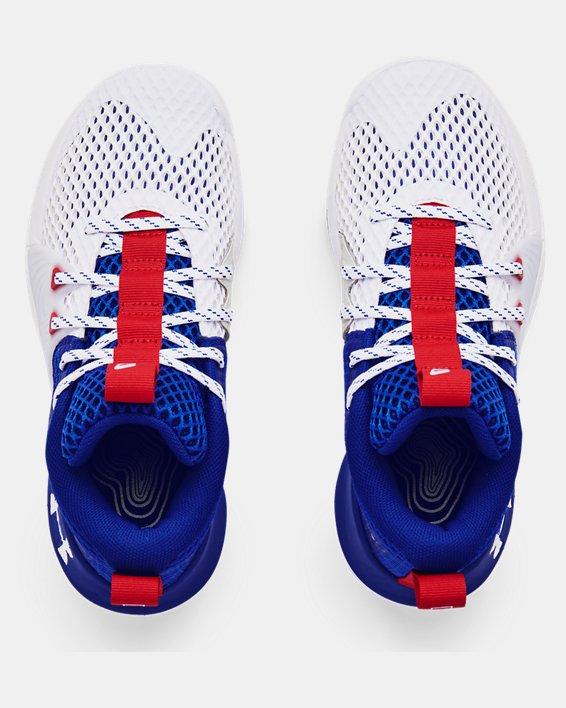 Grade School UA Embiid One Basketball Shoes, White, pdpMainDesktop image number 2