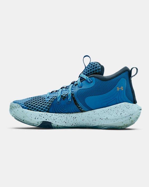 Grade School UA Embiid One Basketball Shoes, Blue, pdpMainDesktop image number 1