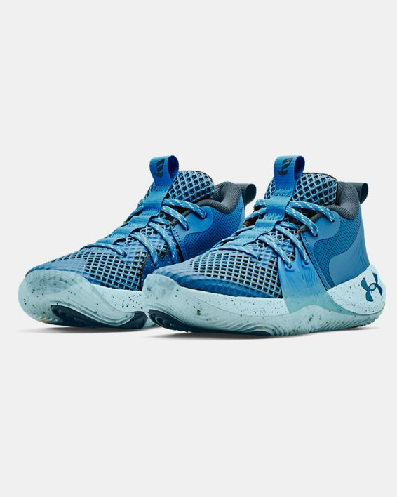 Grade School UA Embiid One Basketball Shoes, Blue, pdpMainDesktop image number 3