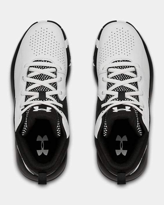 Grade School UA Lockdown 5 Basketball Shoes, White, pdpMainDesktop image number 2