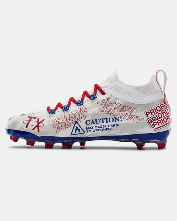 Men's UA Spotlight Lux LE TX Camo Football Cleats, White, pdpMainDesktop image number 1