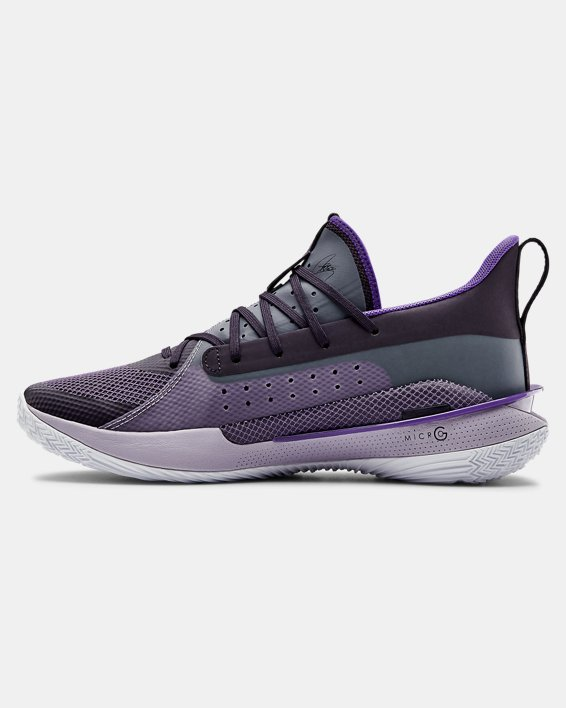 Unisex UA Curry 7 'BAMAZING' Basketball Shoes, Purple, pdpMainDesktop image number 1