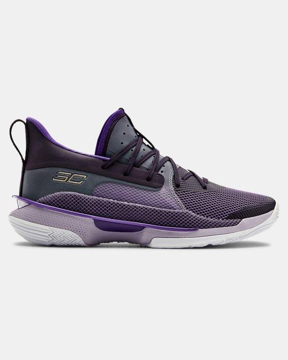 Unisex UA Curry 7 'BAMAZING' Basketball Shoes, Purple, pdpMainDesktop image number 0