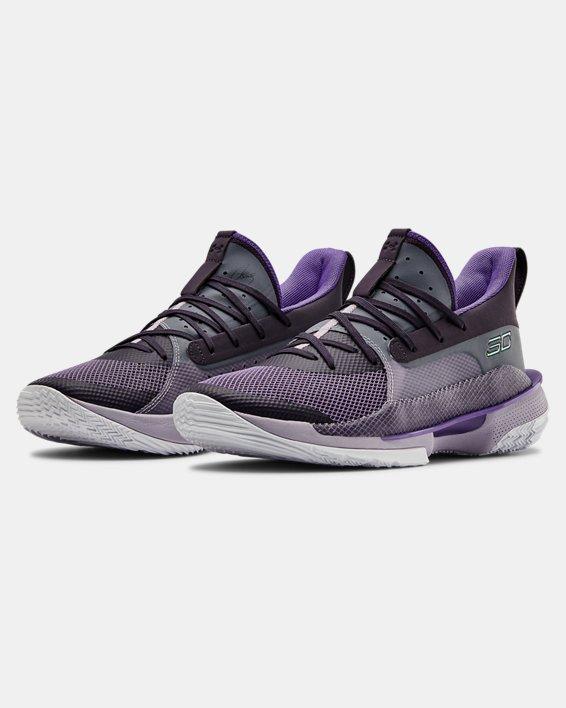 Unisex UA Curry 7 'BAMAZING' Basketball Shoes, Purple, pdpMainDesktop image number 4