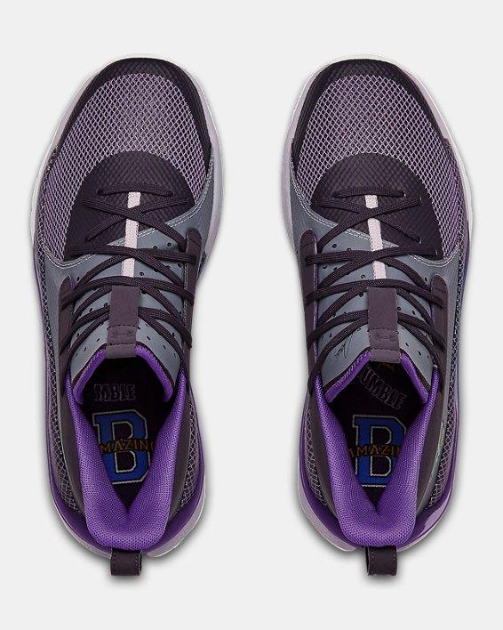 Unisex UA Curry 7 'BAMAZING' Basketball Shoes, Purple, pdpMainDesktop image number 3