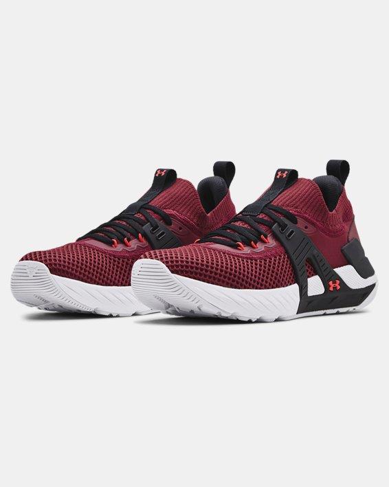 Men's UA Project Rock 4 Training Shoes, Red, pdpMainDesktop image number 3