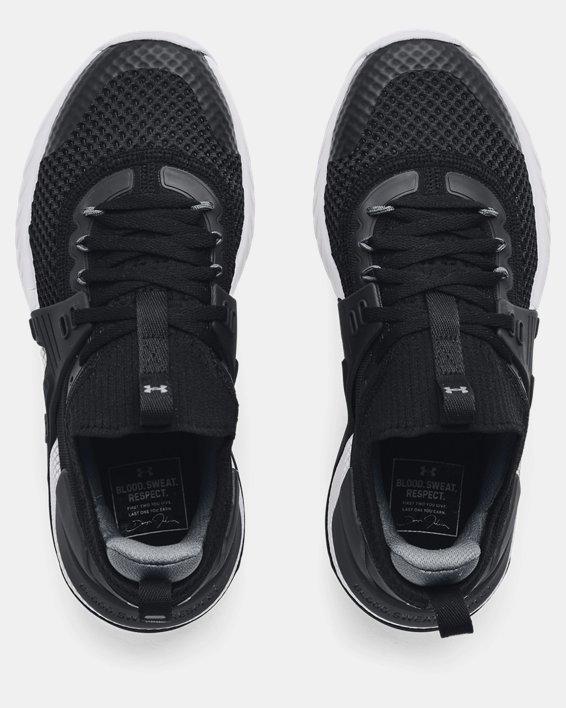Grade School UA Project Rock 4 Training Shoes, Black, pdpMainDesktop image number 2