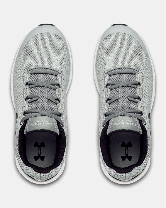 Girls' Grade School UA Charged Pursuit 2 Twist Running Shoes, Gray, pdpMainDesktop image number 2