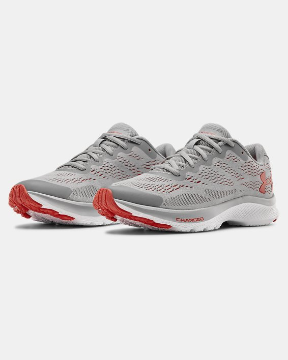 Boys' Grade School UA Charged Bandit 6 Running Shoes, Gray, pdpMainDesktop image number 3