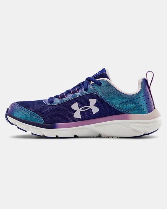 Girls' Grade School UA Assert 8 Frosty Running Shoes, Blue, pdpMainDesktop image number 1