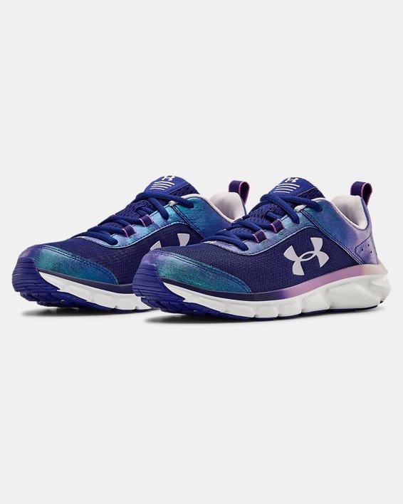Girls' Grade School UA Assert 8 Frosty Running Shoes, Blue, pdpMainDesktop image number 3