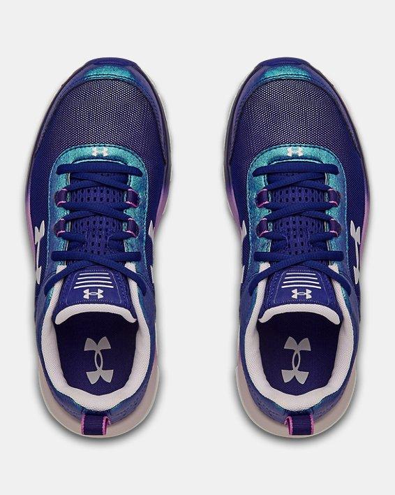 Girls' Grade School UA Assert 8 Frosty Running Shoes, Blue, pdpMainDesktop image number 2