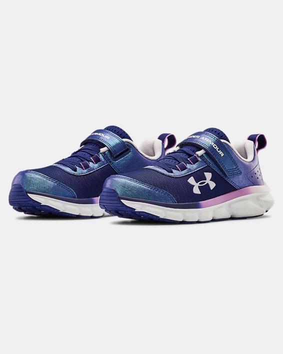 Girls' Pre-School UA Assert 8 AC Frosty Running Shoes, Blue, pdpMainDesktop image number 4