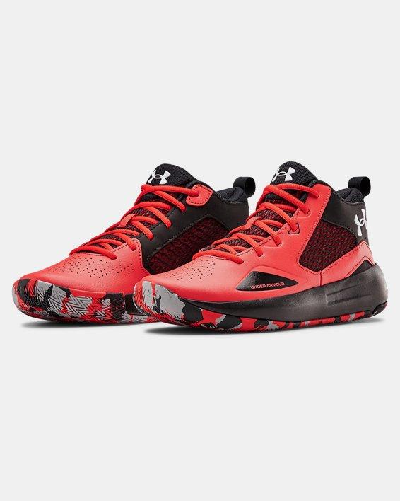 Adult UA Lockdown 5 Basketball Shoes, Red, pdpMainDesktop image number 3
