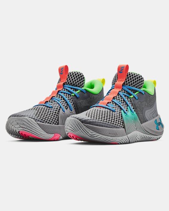 Unisex UA Embiid One 'Gamer Night' Basketball Shoes, Gray, pdpMainDesktop image number 3