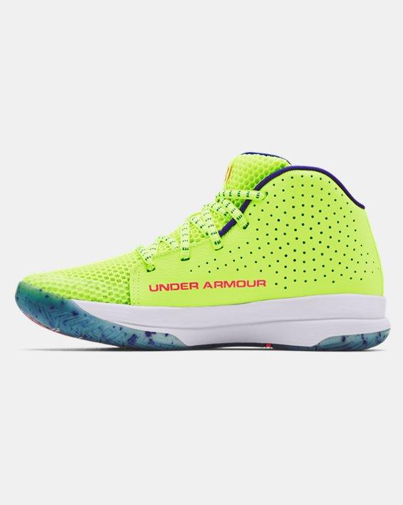 Grade School UA Jet Splash Basketball Shoes, Yellow, pdpMainDesktop image number 1
