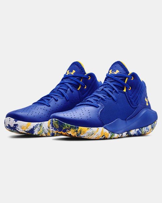 Unisex UA Jet '21 Basketball Shoes, Blue, pdpMainDesktop image number 3