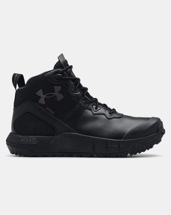 Chaussures militaires imperméables en cuir à coupe mi-montante UAMicroG® Valsetz pour homme, Black, pdpMainDesktop image number 0