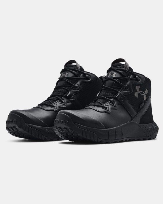 Chaussures militaires imperméables en cuir à coupe mi-montante UAMicroG® Valsetz pour homme, Black, pdpMainDesktop image number 3
