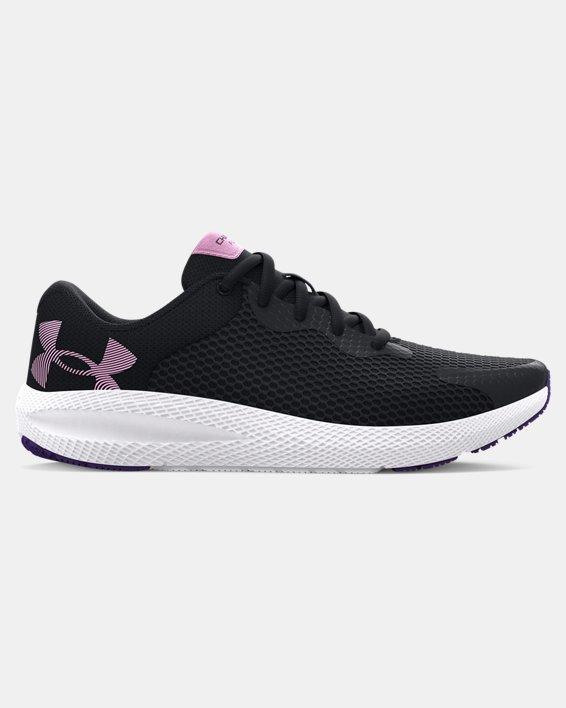 Girls' Grade School UA Charged Pursuit 2 Big Logo Running Shoes, Black, pdpMainDesktop image number 0