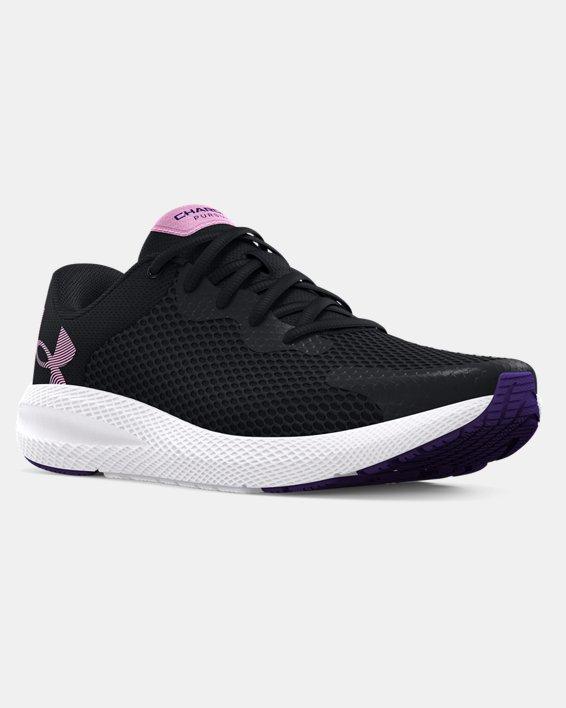 Girls' Grade School UA Charged Pursuit 2 Big Logo Running Shoes, Black, pdpMainDesktop image number 6