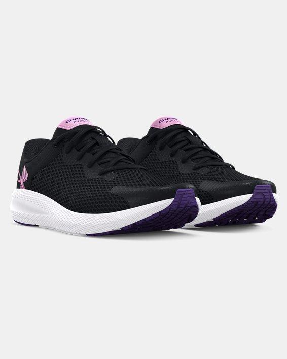 Girls' Grade School UA Charged Pursuit 2 Big Logo Running Shoes, Black, pdpMainDesktop image number 3