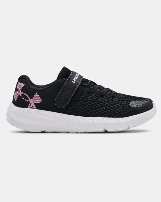 Girls' Pre-School UA Pursuit 2 AC Big Logo Running Shoes, Black, pdpMainDesktop image number 0