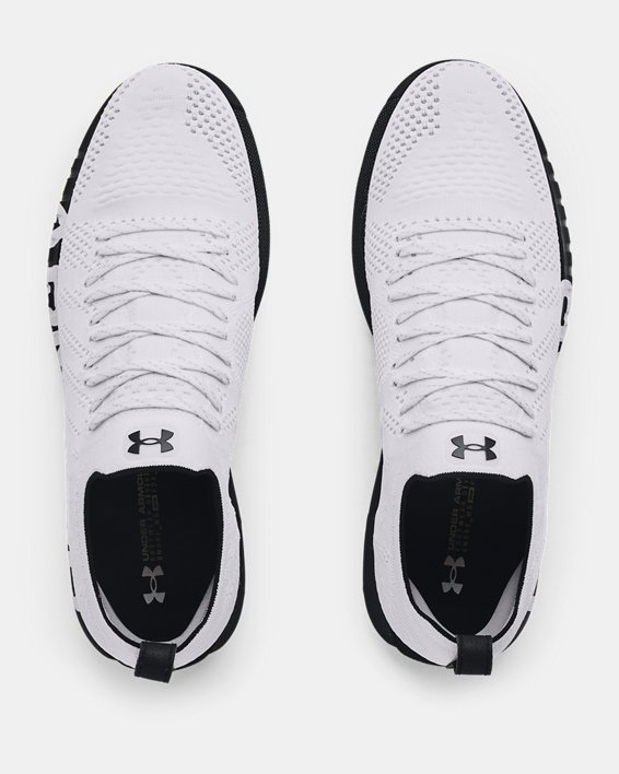 Men's UA HOVR™ Knit Lace Up Spikeless Golf Shoes, White, pdpMainDesktop image number 2