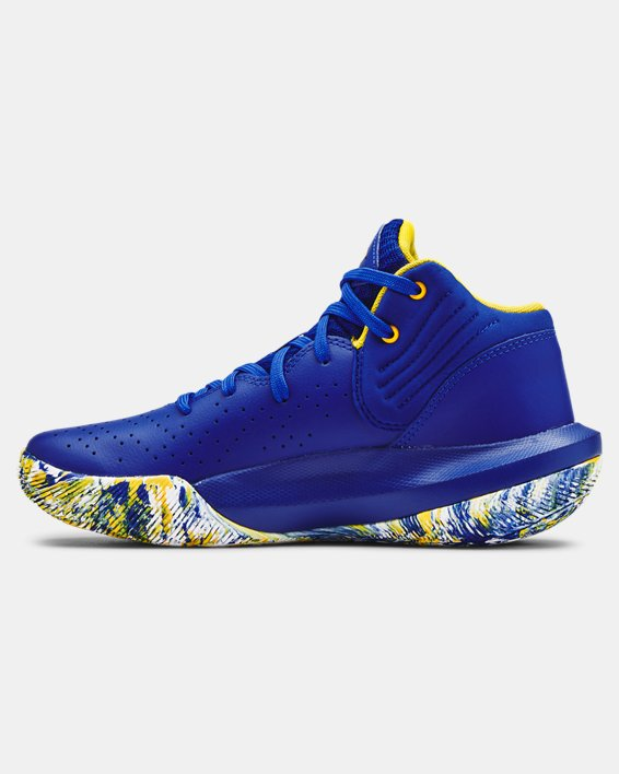 Grade School UA Jet '21 Basketball Shoes, Blue, pdpMainDesktop image number 1