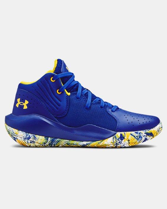 Grade School UA Jet '21 Basketball Shoes, Blue, pdpMainDesktop image number 0