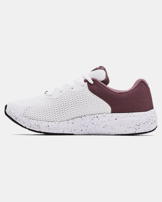 Women's UA Charged Pursuit 2 Big Logo Speckle Running Shoes, White, pdpMainDesktop image number 1