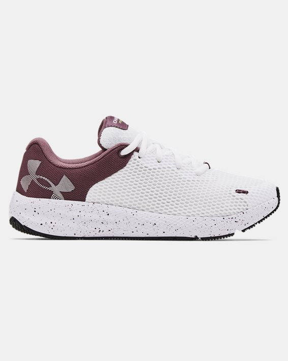 Women's UA Charged Pursuit 2 Big Logo Speckle Running Shoes, White, pdpMainDesktop image number 0