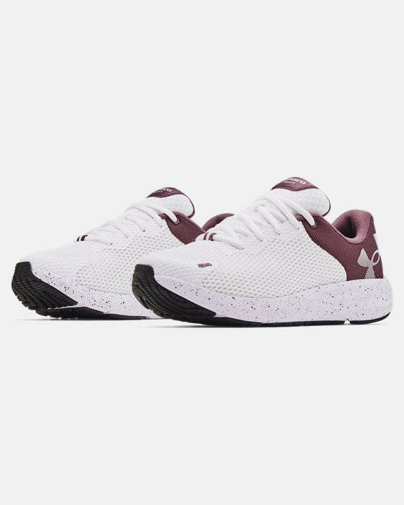 Women's UA Charged Pursuit 2 Big Logo Speckle Running Shoes, White, pdpMainDesktop image number 3