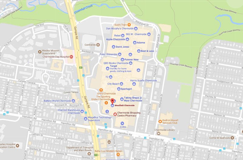 Westfield Chermside offers more than stores and other services such as cinemas or restaurants. Get information about opening hours, store list directions with map and GPS. Westfield Chermside is located on address Gympie Rd, Chermside near by Brisbane, Queensland, QLD