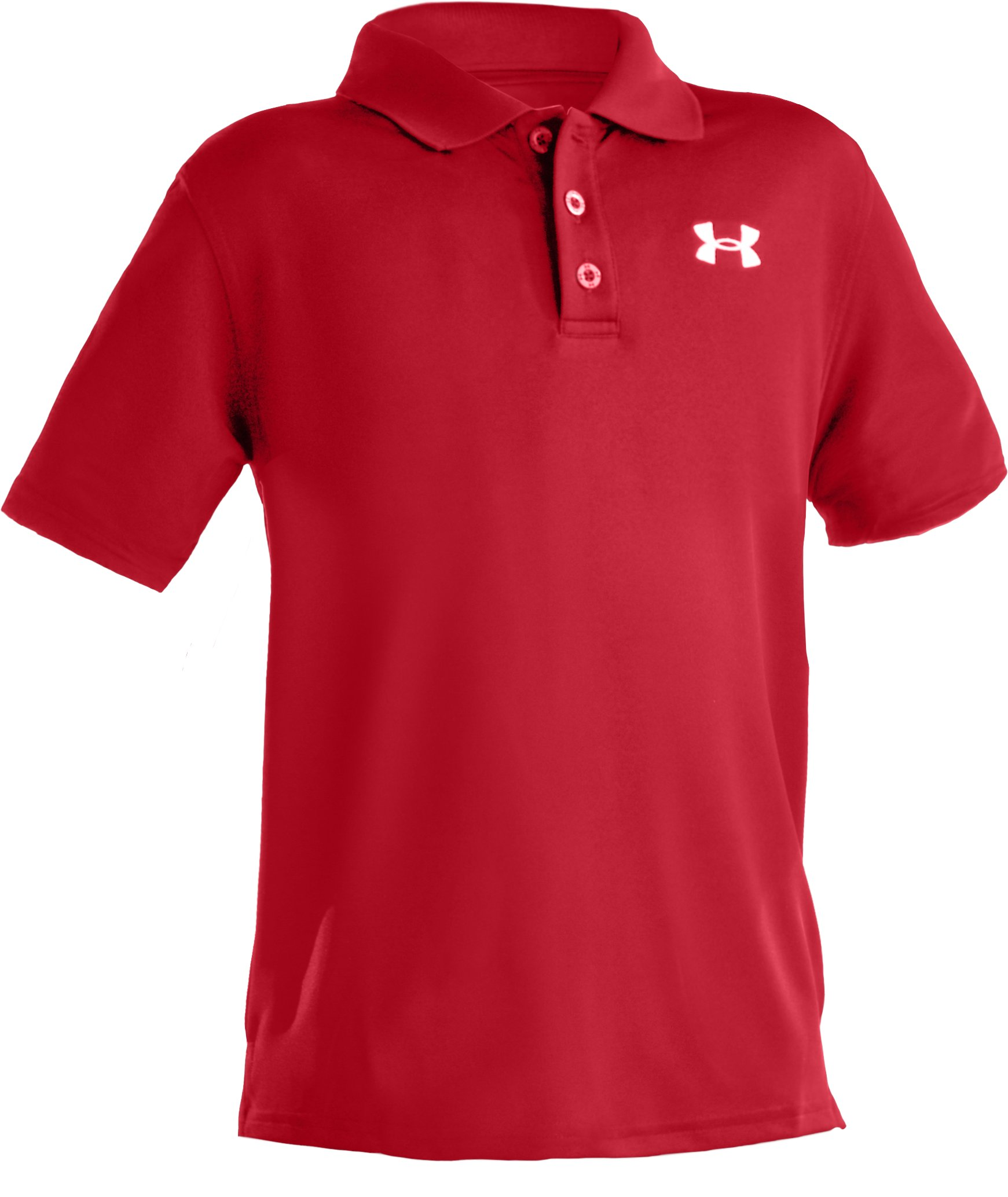 Boys' Short Sleeve UA Performance Polo, Red,
