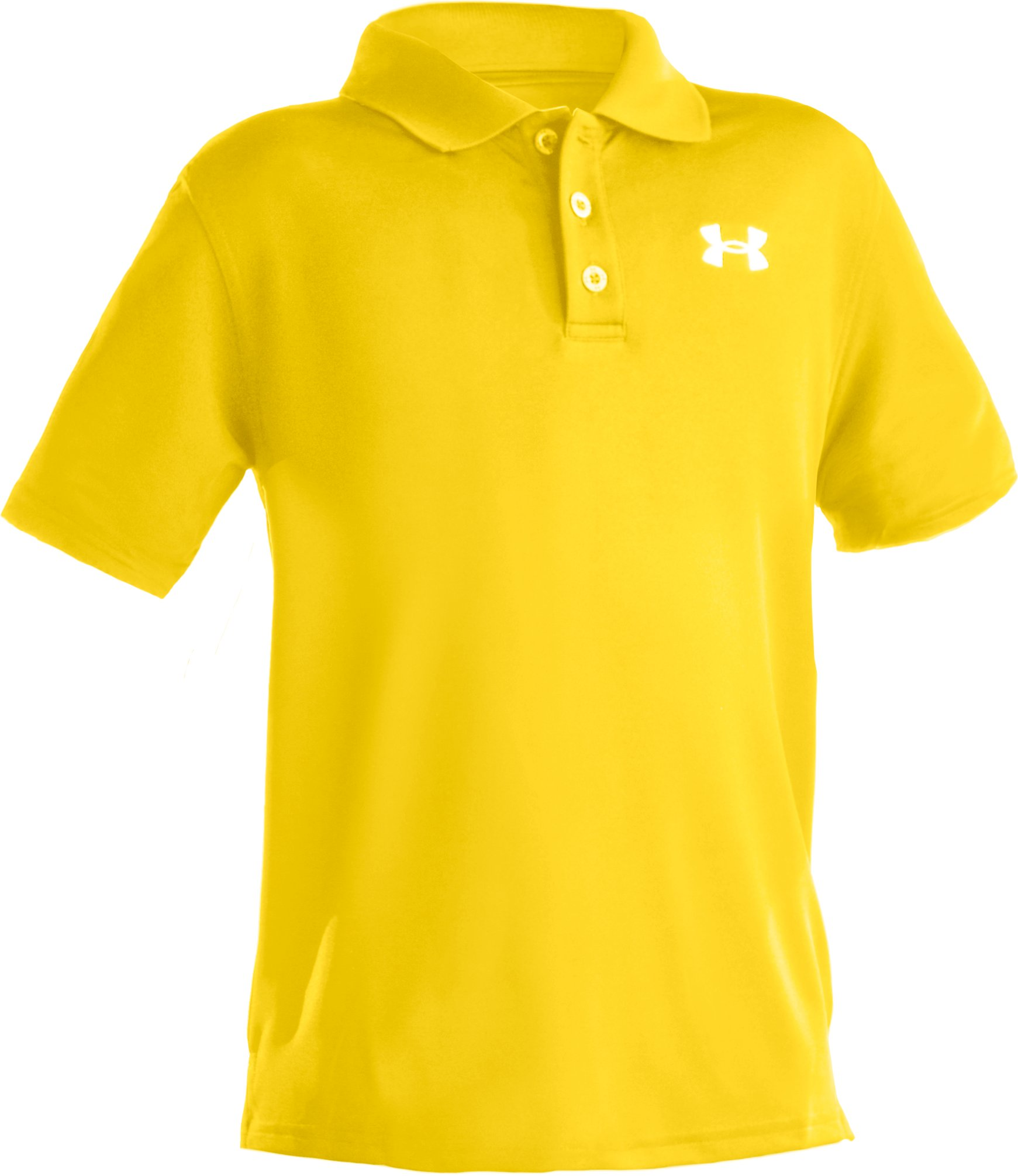 Boys' Short Sleeve UA Performance Polo, Taxi, zoomed image