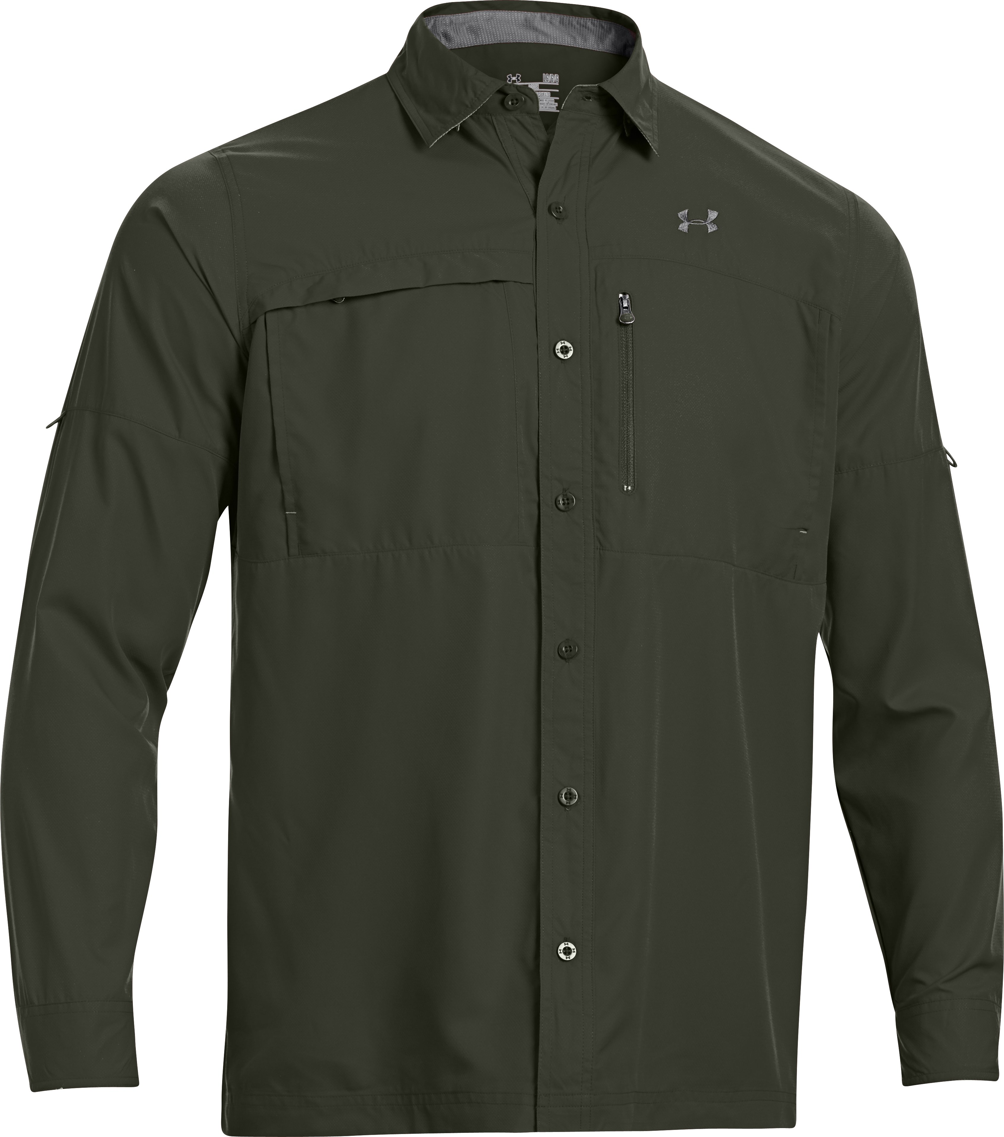 Men's Flats Guide Long Sleeve Shirt, Rifle Green, undefined