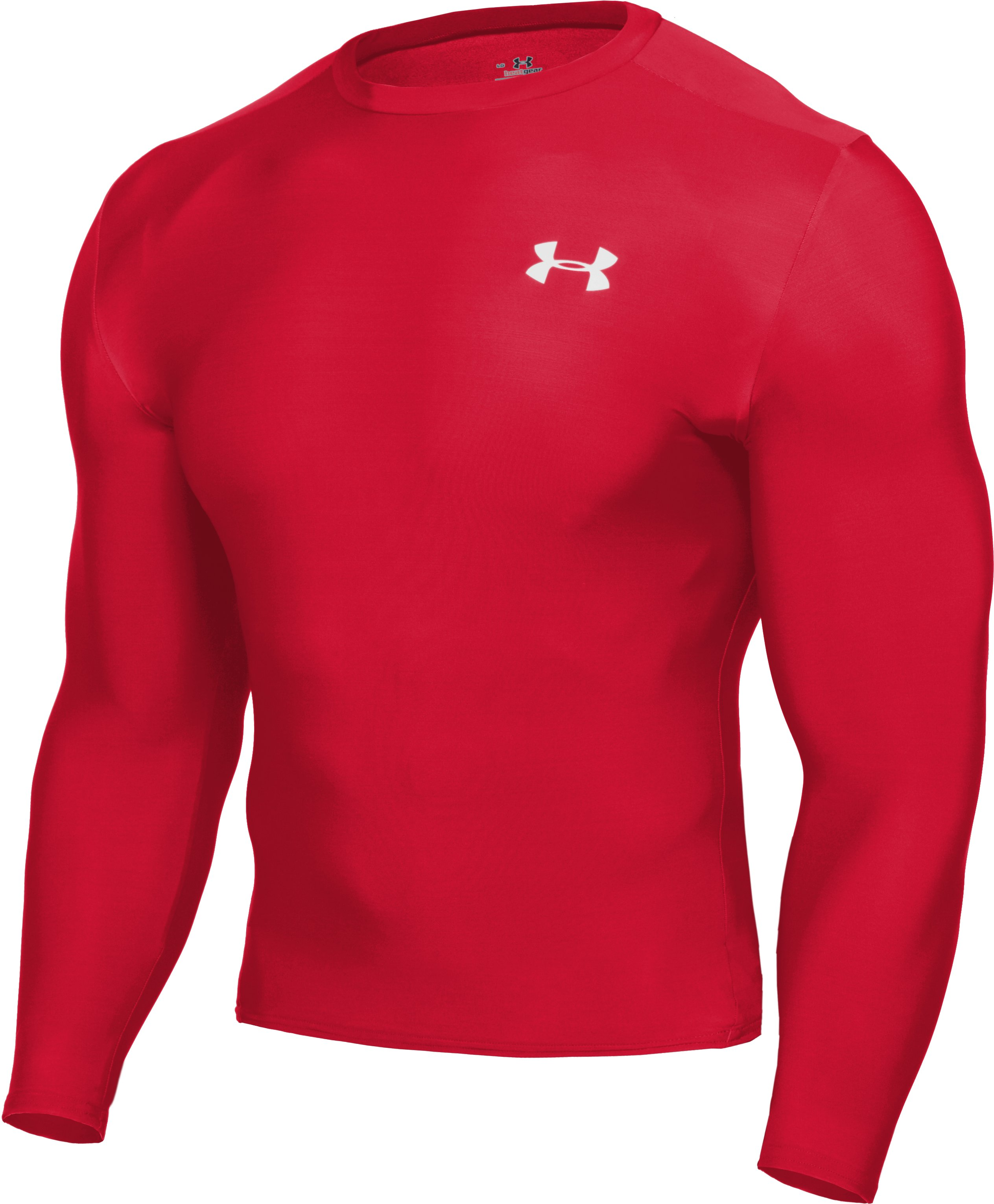 Men's HeatGear® Compression Long Sleeve T-Shirt, Red, undefined