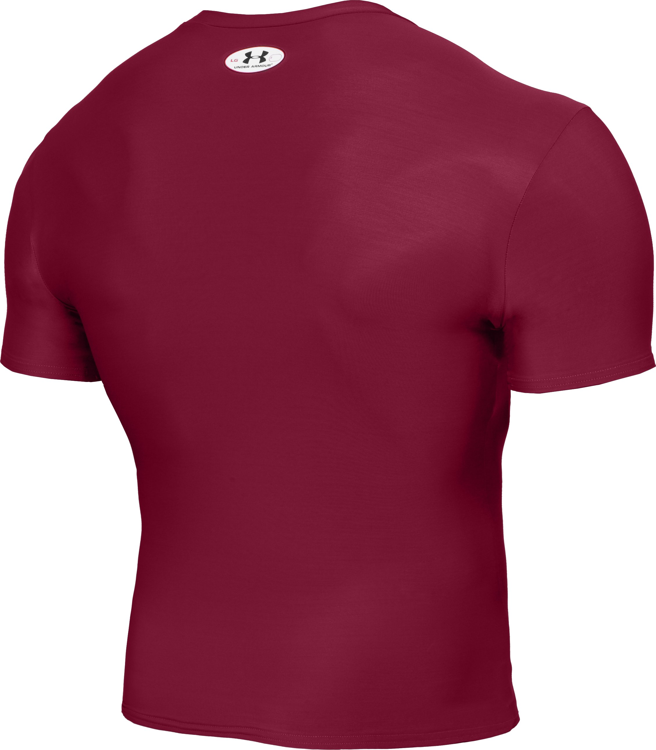 Men's HeatGear® Compression Short Sleeve T-Shirt, Maroon, undefined