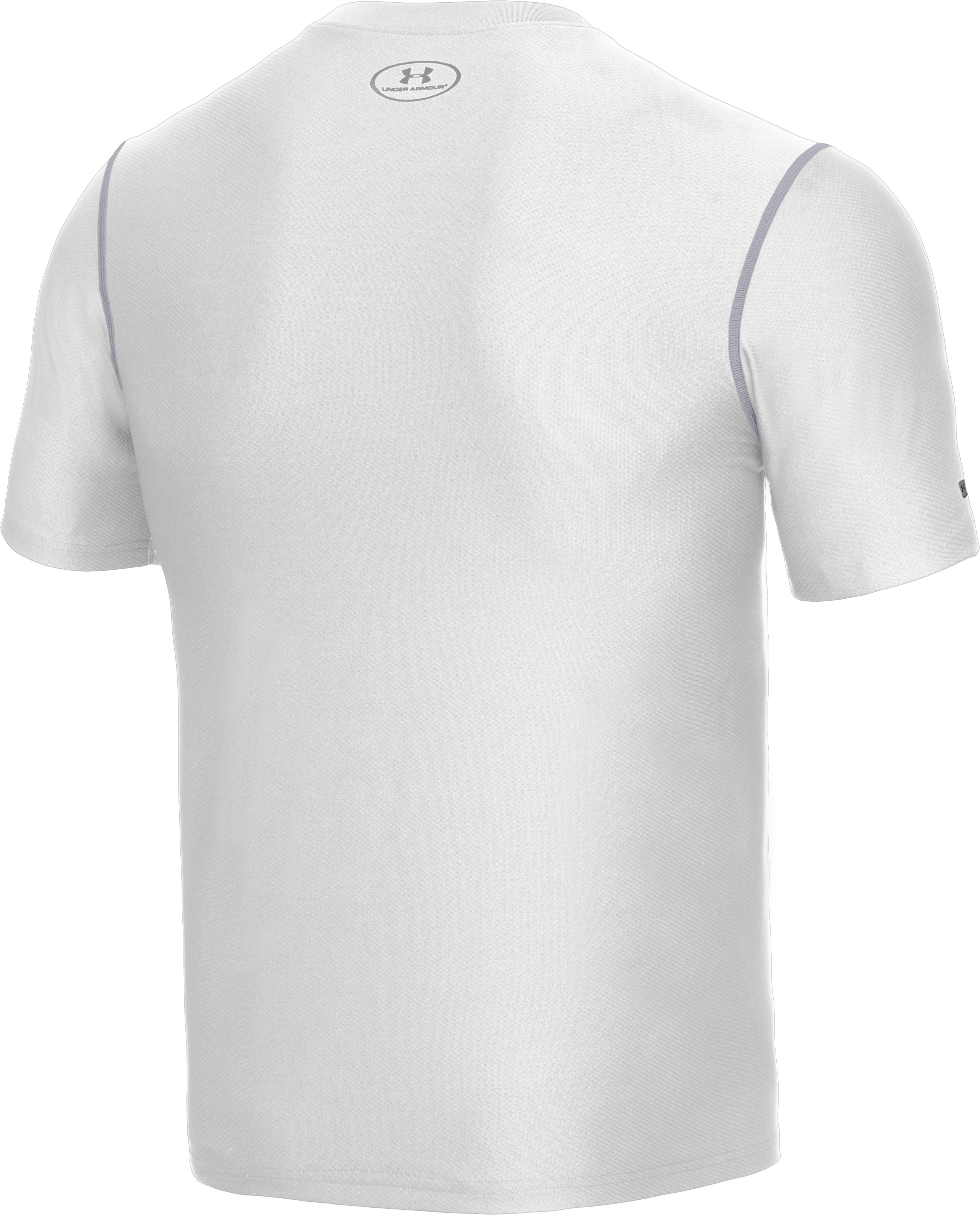 Men's HeatGear® Fitted Short Sleeve Crew, White, undefined