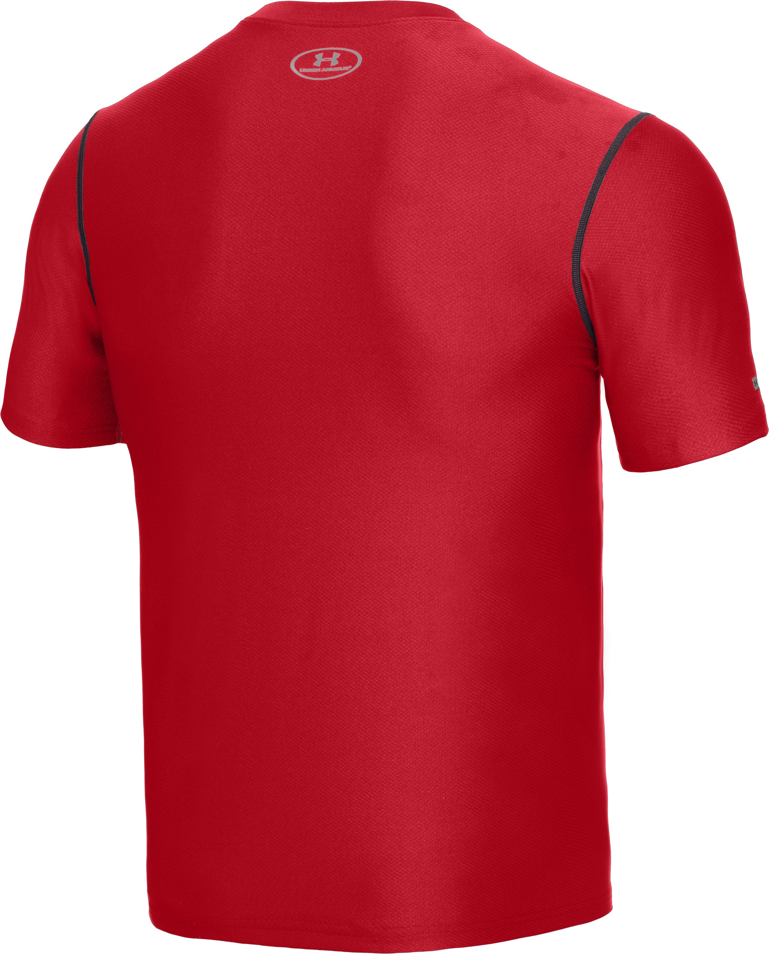 Men's HeatGear® Fitted Short Sleeve Crew, Red