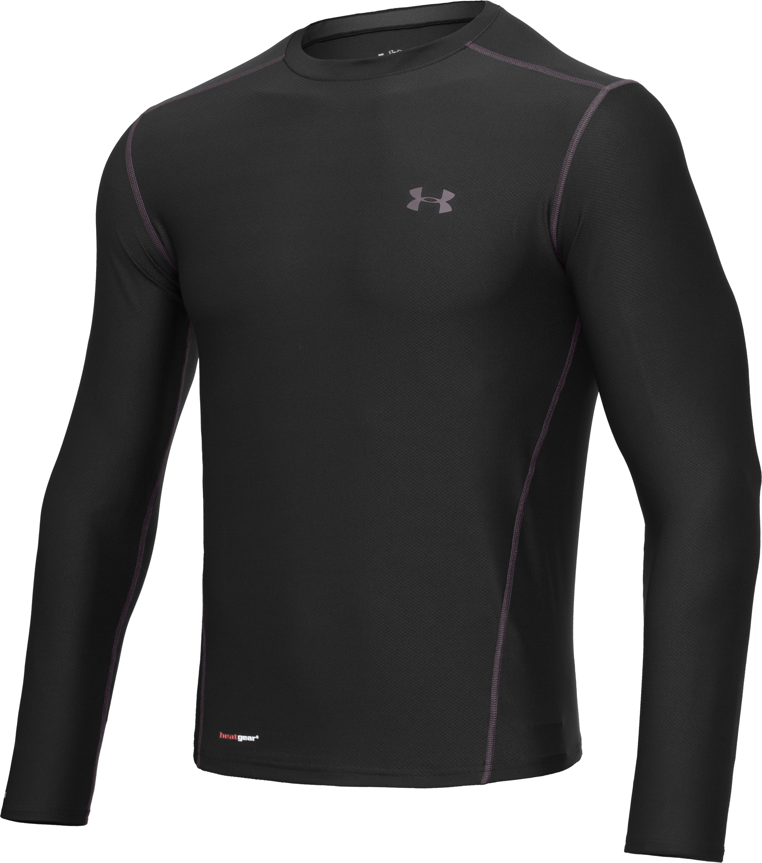 Men's HeatGear® Fitted Long Sleeve Crew, Black , undefined