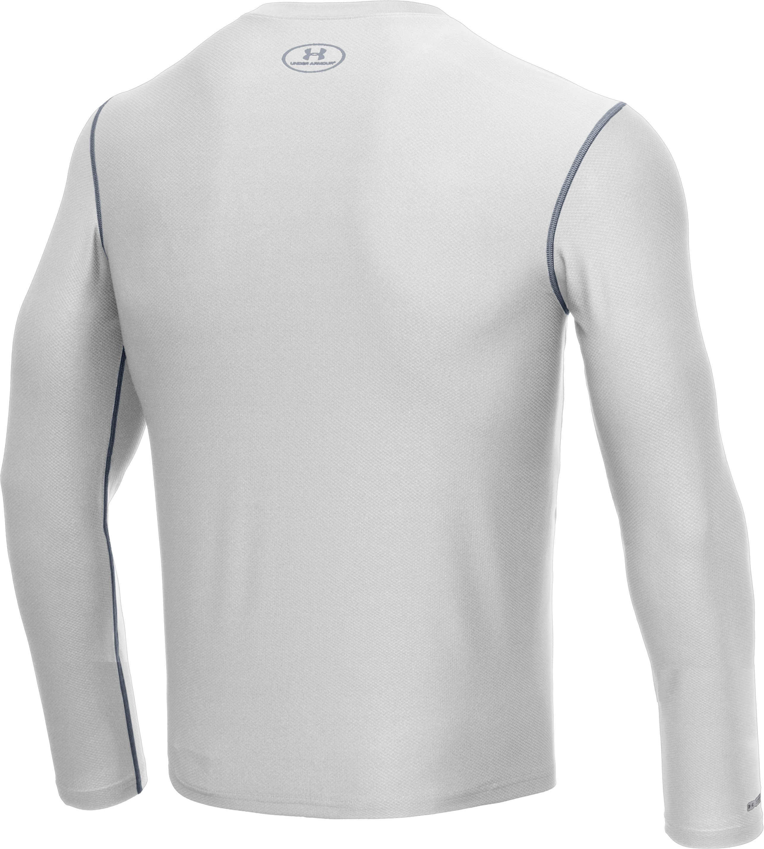 Men's HeatGear® Fitted Long Sleeve Crew, White,