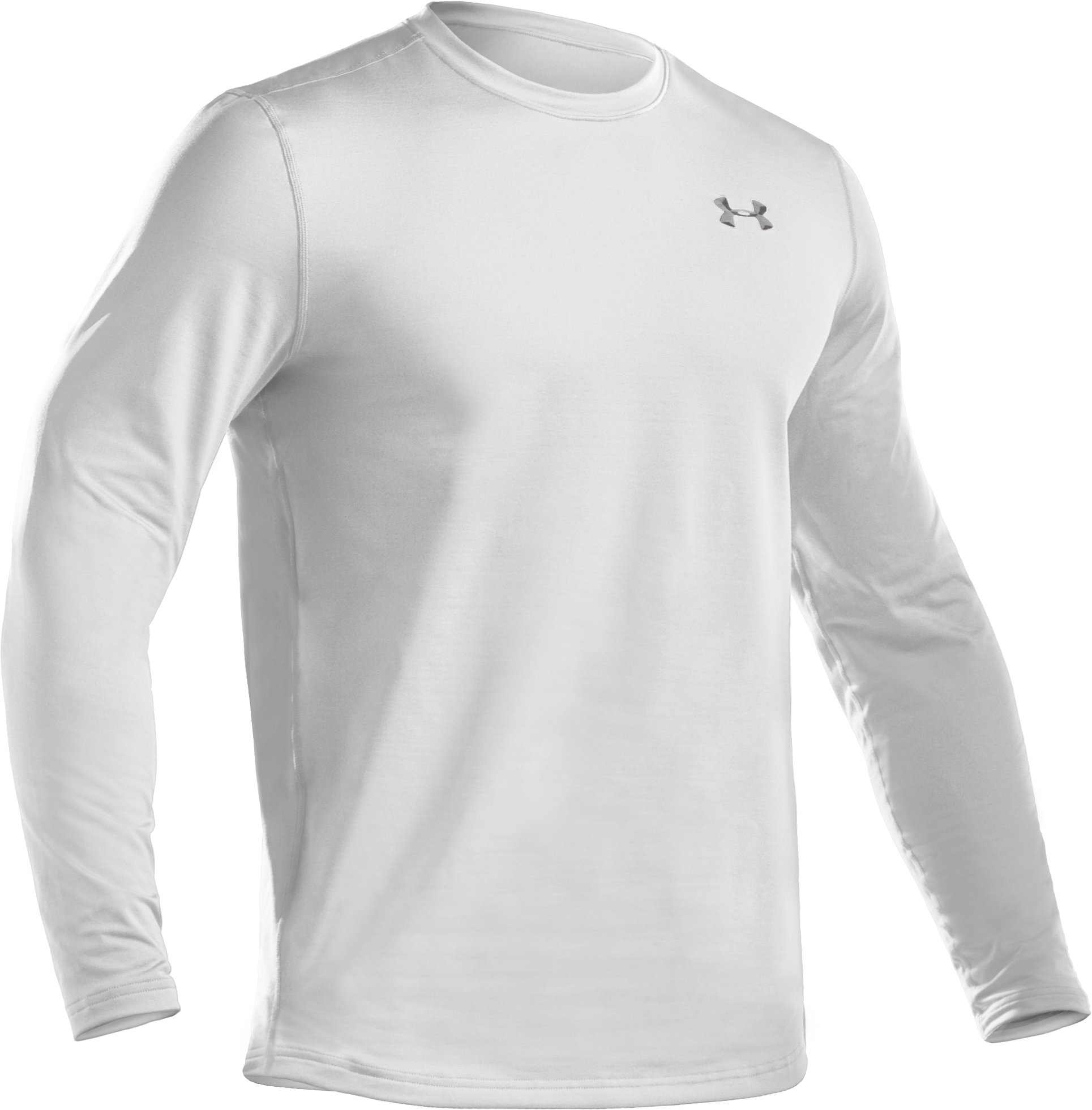 Men's UA EVO ColdGear® Fitted Long Sleeve Crew, White