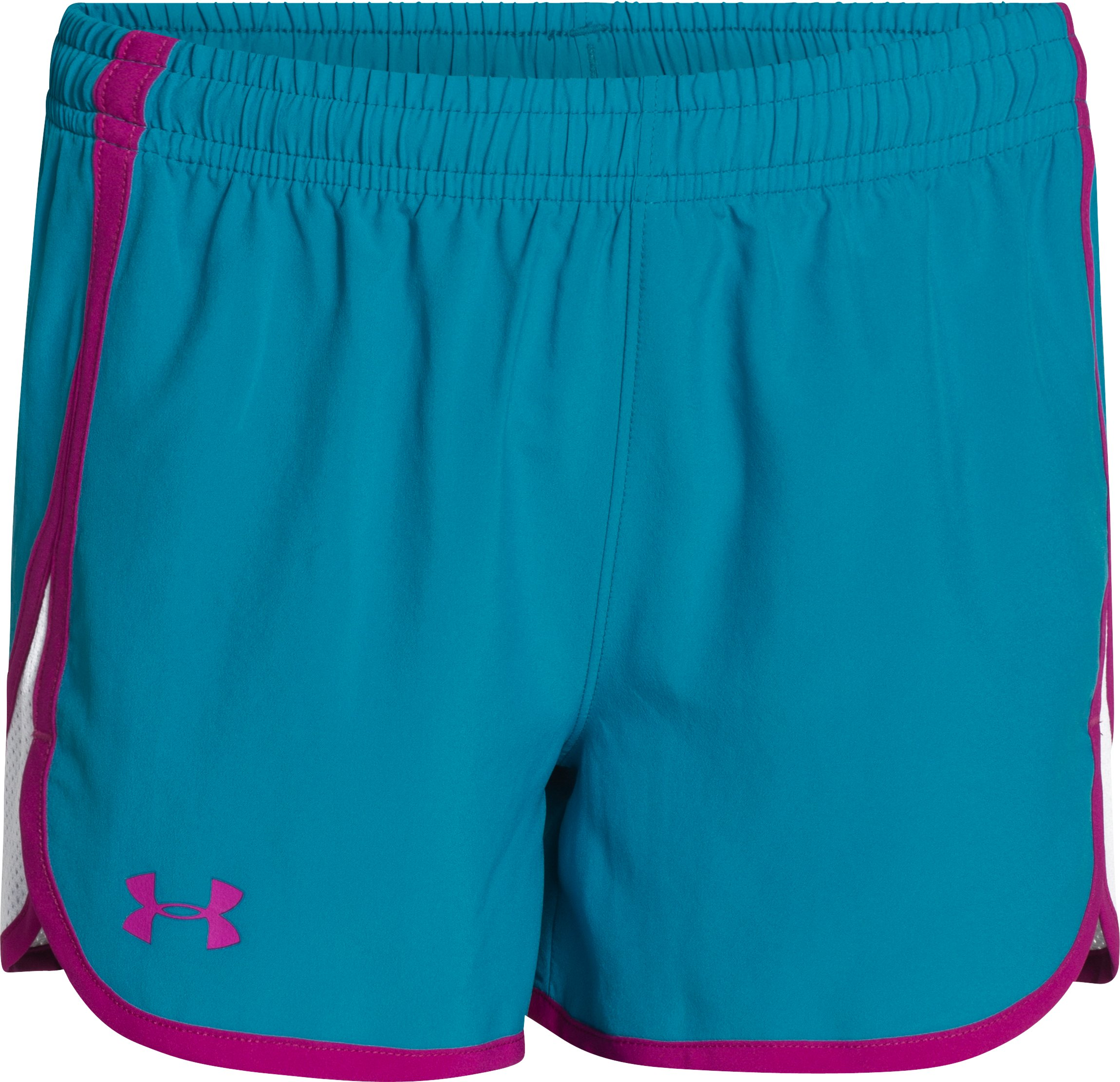 "Girls' UA Escape 3"" Shorts, TEAL ICE, zoomed image"