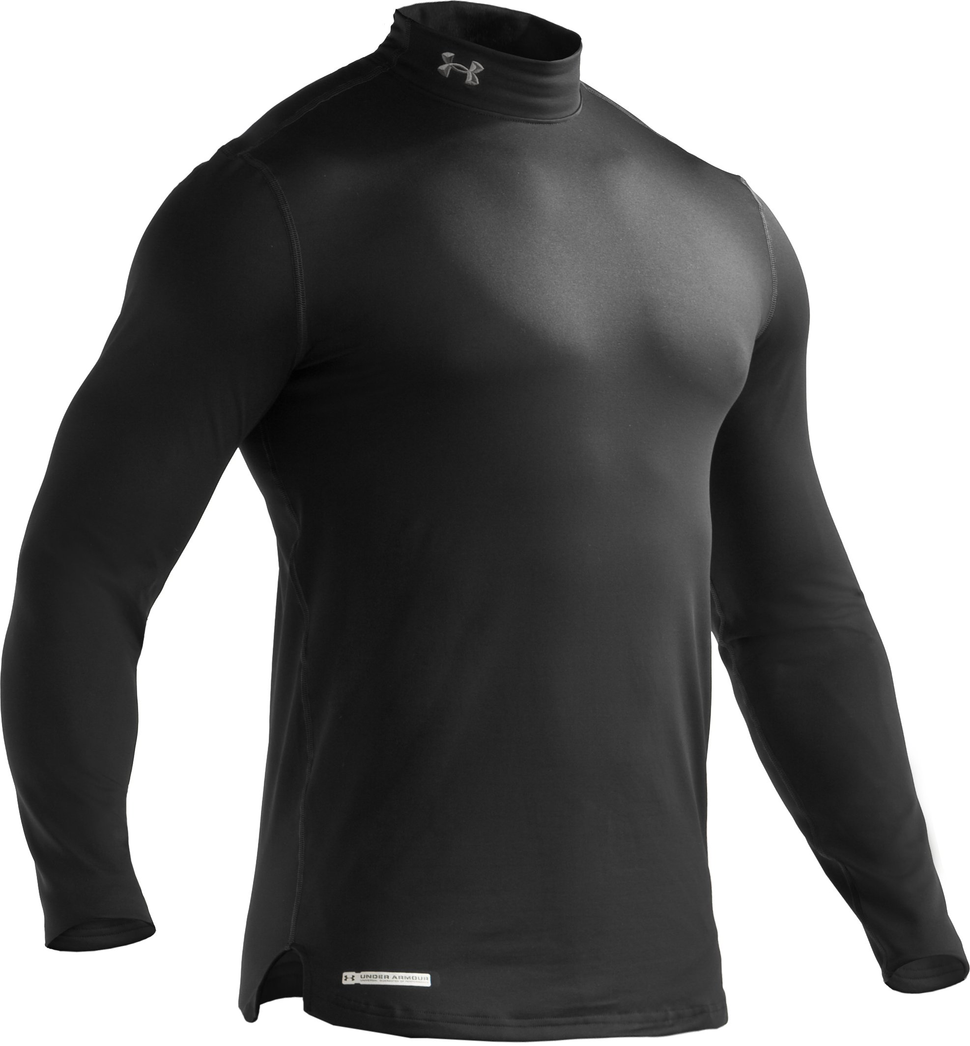 Men's ColdGear® Fitted Long Sleeve Mock, Black ,