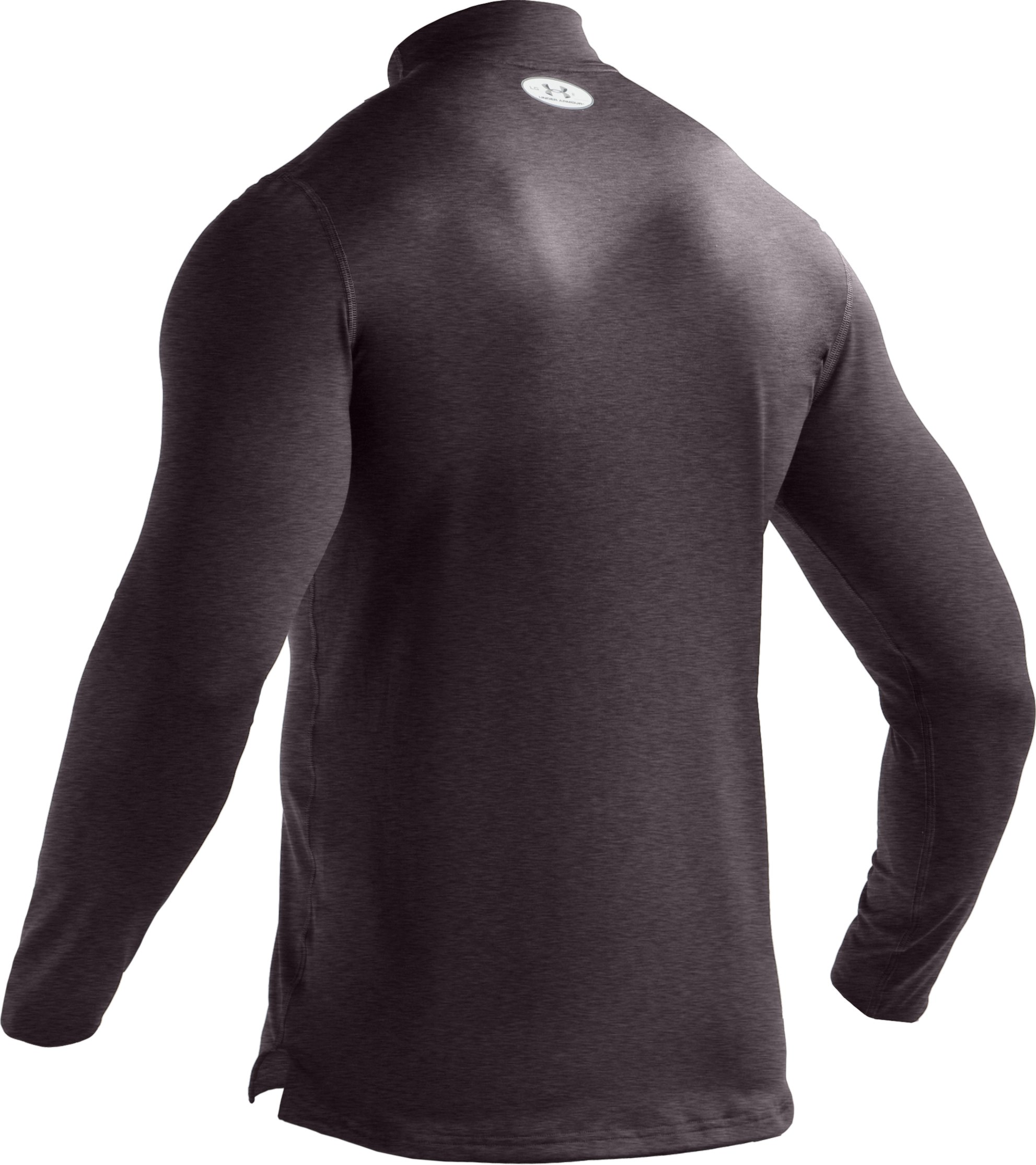 Men's ColdGear® Fitted Long Sleeve Mock, Carbon Heather, undefined