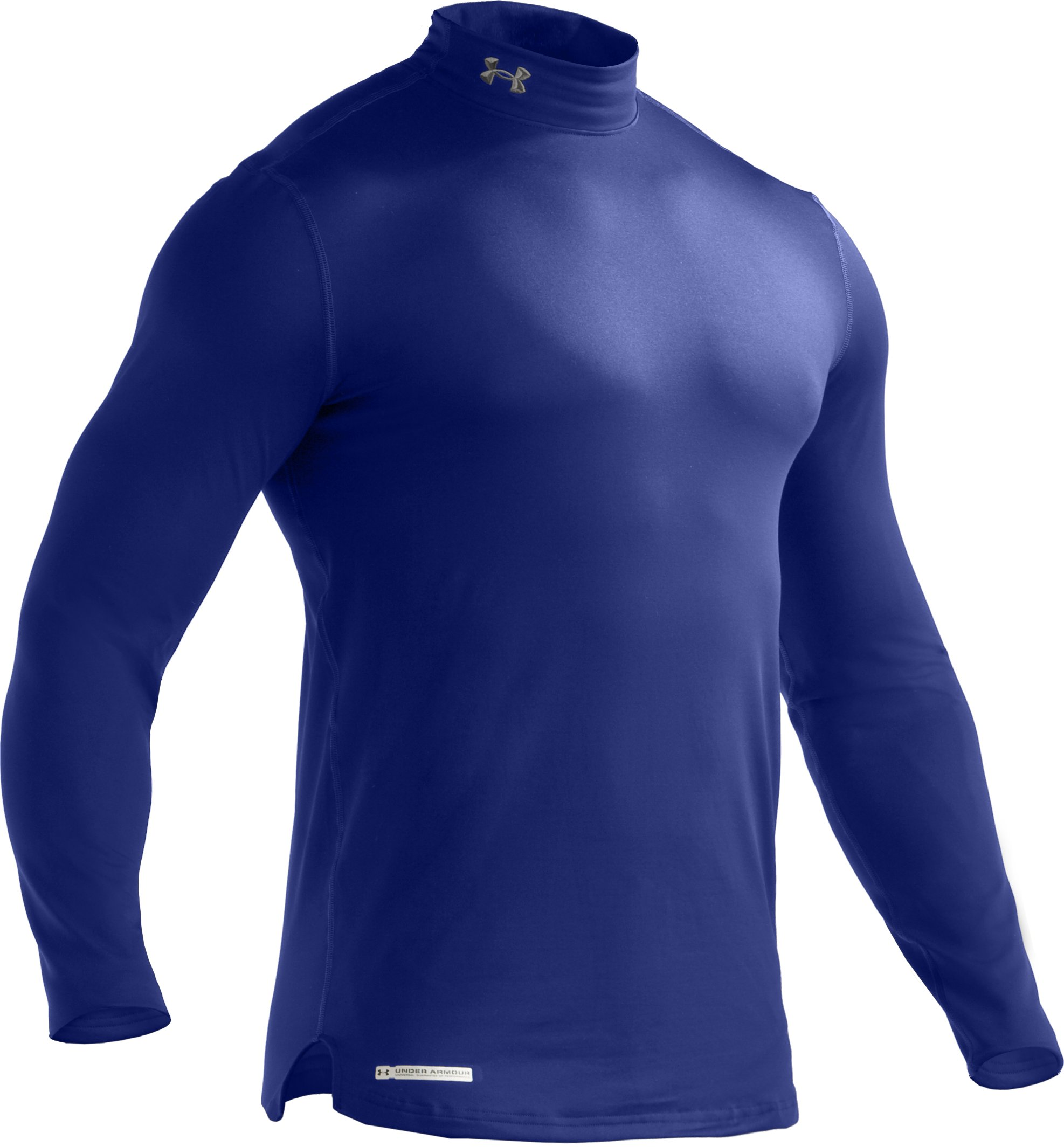 Men's ColdGear® Fitted Long Sleeve Mock, Royal,