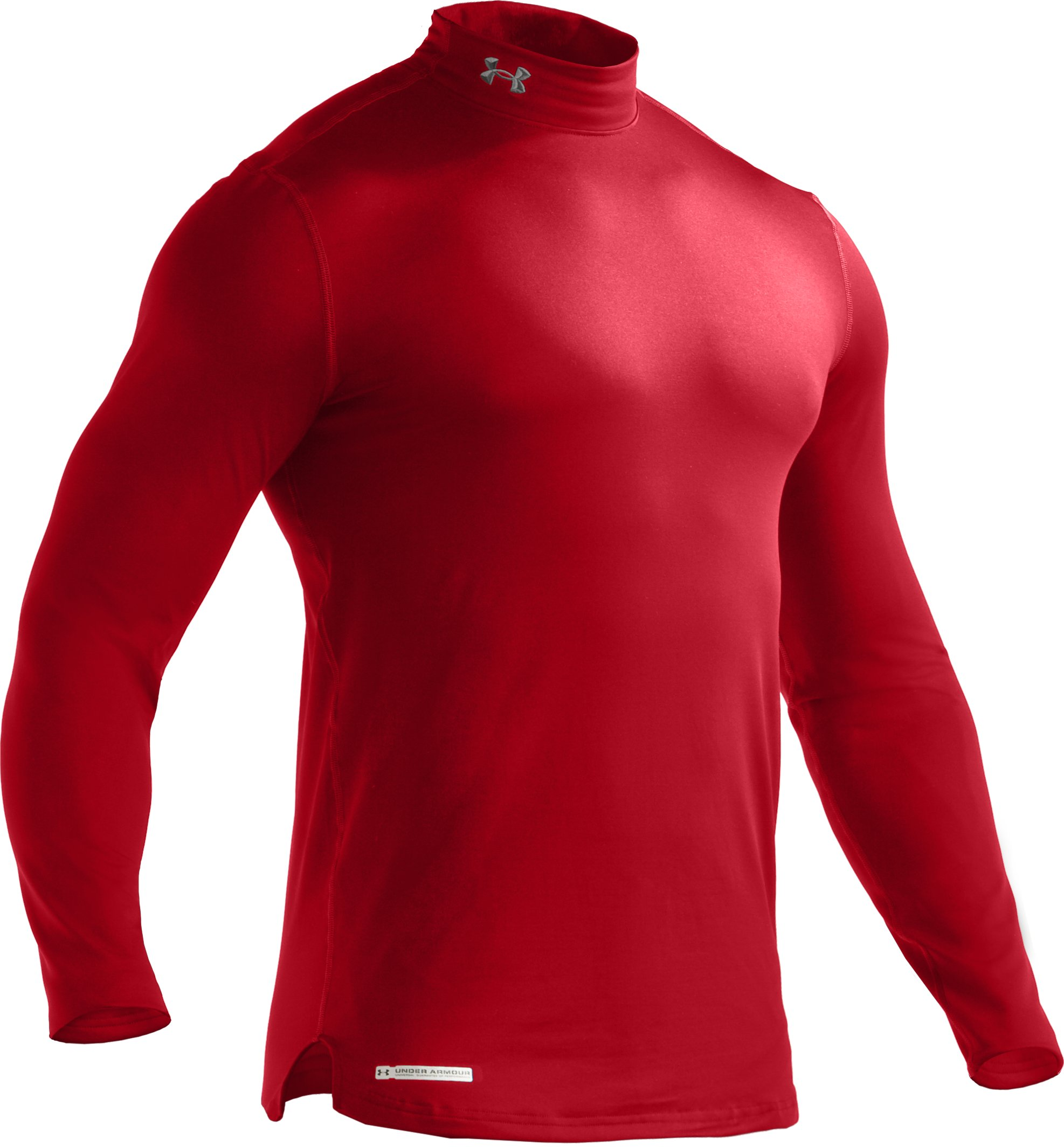 Men's ColdGear® Fitted Long Sleeve Mock, Red, undefined